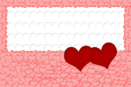multitude: Two red hearts are placed on a multitude of pink hearts in the bottom of the image. All on white background formed from white hearts. The edges of the image are made of pink hearts. Horizontally. Stock Photo