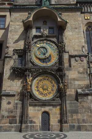 old town hall: The Old Town Hall in Prague. Astronomical clock with zodiac. (Czech Republic). Vertically.