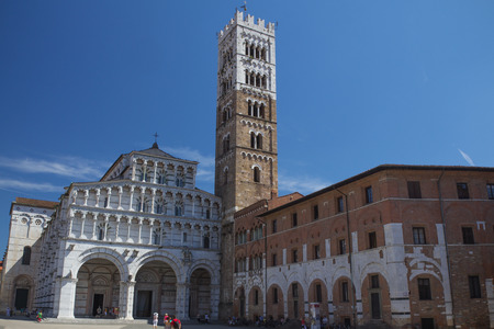 urbanistic: LUCCA - AUG 29: The square of St Martin is characterized by various traits inherited from the citys past - like that of a typical urbanistic layout of a Roman settlement. August 29, 2014 in Lucca