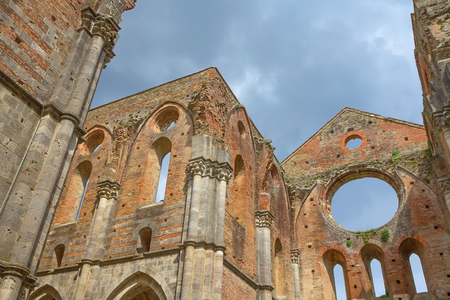 Ruins of the church San Galgano. The abbey was abolished in 1652. (Tuscany, Italy)