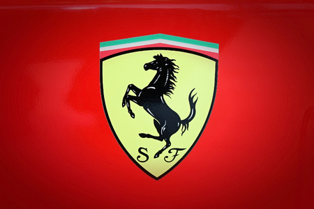 SUMPERK - DEC 19, 2009: The team Scuderia Ferrari was founded by Enzo Ferrari, initially to race cars produced by Alfa Romeo, though by 1947 Ferrari had begun building its own cars. December 19, 2009 in Sumperk, Czech Republic Éditoriale
