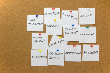 affixed: White paper notes with various written to-do tasks affixed to the corkboard.