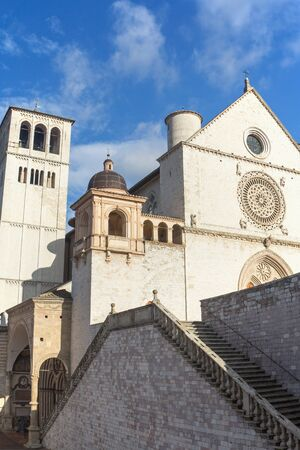 religious building: The Papal Basilica of St. Francis of Assisi (Assisi, Umbria, Italy). Vertically. Stock Photo