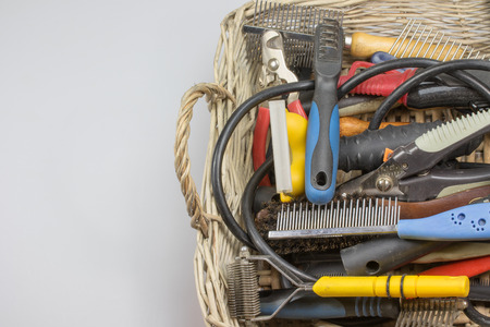 pet grooming: Used tools and supplies for a dog grooming are in knitted basket. They are located on the right side of the photo. On the left side is a place for your text. All potential trademarks are removed.