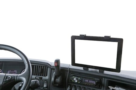 Dashboard of the truck isolated on the white background. Navigation display is ready for your text. 版權商用圖片