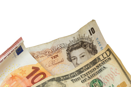 laundered: Ten pounds banknote, ten euro banknote and the ten dollar banknote isolated on the white background.