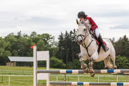 """uomo a cavallo: Sv�bohov, REPUBBLICA CECA - 23 maggio: vista laterale del primo piano di cavaliere in giacca rossa su un cavallo bianco che salta alla """"Summer Jumping Event 2015"""" il 23 maggio 2015 a Sv�bohov, Repubblica Ceca."""