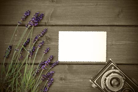 edited photo: Lavender flowers are laid on a wooden board in the right part of the photo. Empty photo with serrated edges for your text in the middle of photos. Edited as a vintage photo with color splash effect. All potential trademarks are removed. Stock Photo