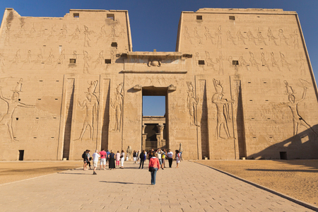 egyptology: EDFU - NOV 02: Famous the Temple of Horus at Edfu was built during the Ptolemiac era on top of an earlier temple to Horus, which was oriented east-west instead. November 02, 2011 in Edfu, Egypt.