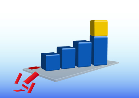 cuboid: 3d graph is showing growth. On the last cuboid is standing a golden cube. Graph is standing on a gray mat. From the mat are falling debris of red quadrant, which depicted the loss, bankruptcy. Illustration