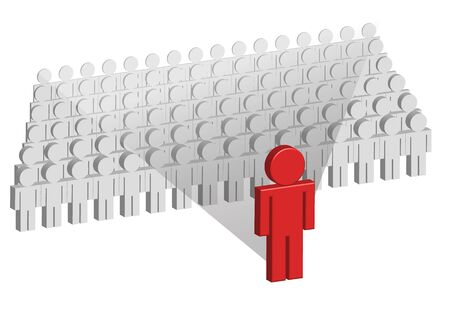 manager team: Several in a row standing gray 3d charactesr are overshadowed by the larger red figure standing in front of them.