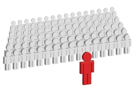 dictator: Several in a row standing gray 3d figures. One red figure is standing in front of them. Stock Photo