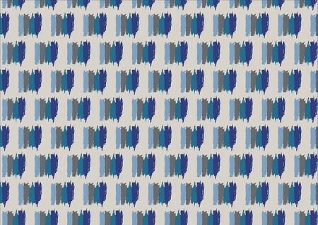single object: Seamless pattern in autumn colors is composed of four  lines of blue shades linked into a single object. Grey background. Illustration