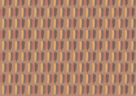 단일 개체: Seamless pattern in autumn colors is composed of four lines of different shades linked into a single object. All is on the dark orange background.