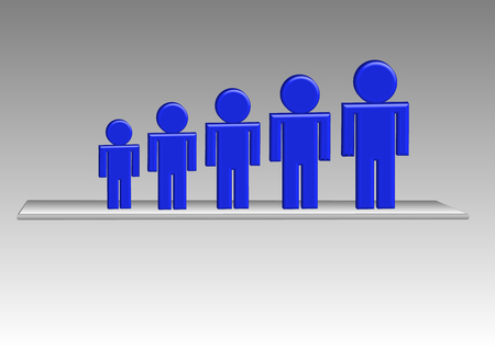 lined up: Graph of five blue persons  lined up from smallest to largest are standing on a transparent mat. Grey gradient is in the background. Illustration