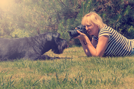 camera: Blonde middle aged woman is lying on the lawn against her lying Giant Black Schnauzer dog and is taking picture.   Stock Photo