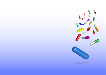 free place: Falling colored capsules of drugs.  The lowest is the biggest capsule in blue. All is on the white and blue gradient background. Free place for your text is in the left side of the vector.
