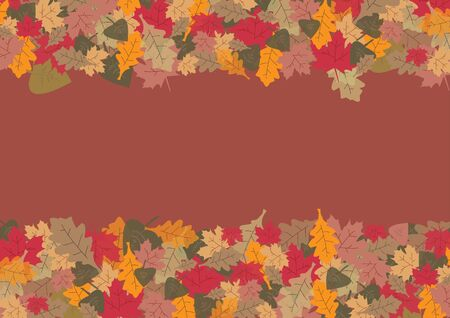 fallen leaves: Colorful fallen leaves in autumn colors are at the top and bottom on a trendy brown background. Stock Photo