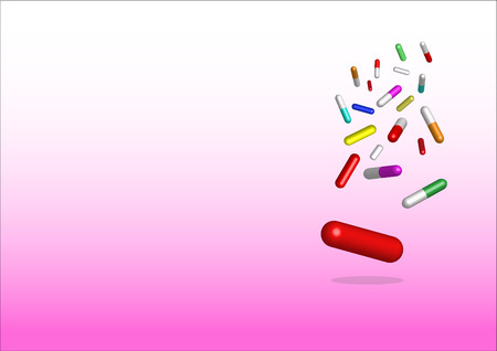 free place: falling colored capsules of drugs.  The lowest is the biggest capsule in blue. All is on the white and pink gradient background. Free place for your text is in the left side of the vector.