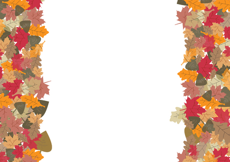 fallen leaves: Colorful fallen leaves in autumn colors are at the left and right  on a white sheet. Stock Photo