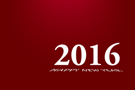 skewed: Simply 2016 inscription in white. Beneath this inscription is skewed inscription Happy New Year. Everything is  on red gradient background with a light on the top Stock Photo