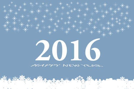 quantities: Happy new year vector card with the white numbers 2016 and bevelled inscription  Happy New Year on the trendy light blue gradient background. Larger quantities of differently sized stars are in the upper part of the vector. White botton is made up of fall Illustration