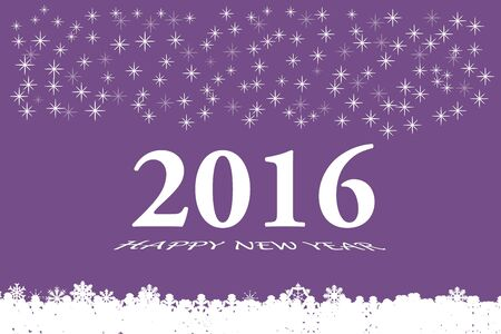 botton: Happy new year vector card with the white numbers 2016 and bevelled inscription  Happy New Year on the trendy purple background. Larger quantities of differently sized stars are in the upper part of the vector. White botton is made up of fallen white snow
