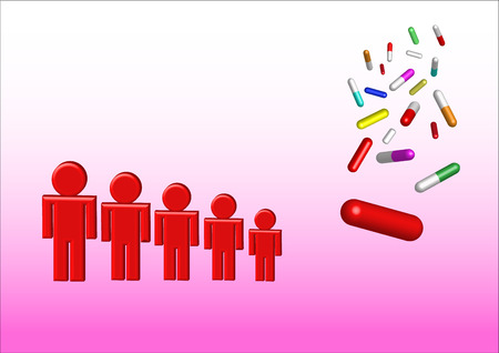 antibiotic pink pill: Falling colored capsules of drugs are in the right side of the vector. The lowest is the biggest capsule in red.  On the left side are red characters showing the decrease in consumption of drugs.