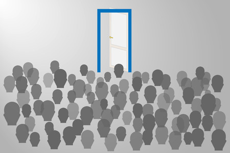 Migration of peoples concept. Gray silhouettes of people are standing in front of the open door with a blue frame. Everything is on a gray gradient background. Illustration