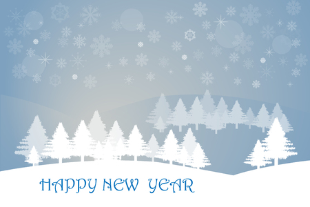 foreground: Winter landscape with trees in the foreground and with transparent trees in the mountains in the background. The background is in trendy blue gradient with snowflakes, stars and light. Inscription Happy New Year is in the white foreground. Illustration