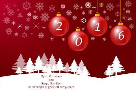goodwill: Winter landscape with trees on the horizon and christmas baubles with number 2016 on the red gradient background with transparen snowflakes. Inscription Happy New Year to all people of goodwill everywhere  is in the white foreground.