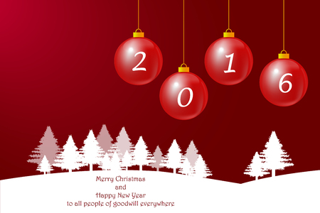 goodwill: Winter landscape with trees in the horizon and Christmas baubles with number 2016. The background is in trendy red gradient. Inscription Happy New Year to all people of goodwill everywhere  is in the white foreground. Illustration