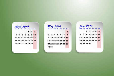 quarter: Three white paper sheets with calendar for the second quarter of the year 2016 on the trendy green gradient background. Illustration