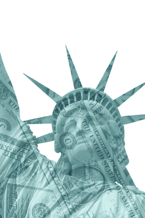 dual: Head of Lady Liberty in New York City. (USA). Dual exposure with US dollar bills.