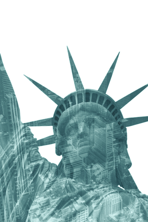 statue: Head of Lady Liberty in New York City. (USA). Dual exposure with skyscrapers in Manhattan. Stock Photo