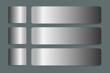 aluminum background: Six stainless steel horizontal  labels vector with shadows on the trendy green background. They are next to each label one square and one rectangular in the horizontal.
