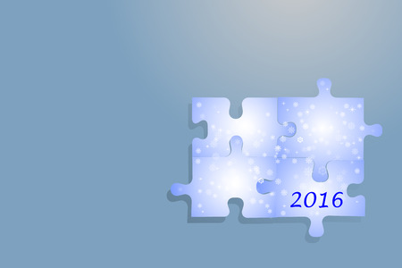 numers: Four puzzle pieces with blue gradient, snowflakes and numers 2016 are together. All on the trendy blue background with light.