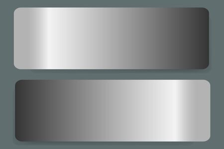 Two stainless steel horizontal labels vector with shadows on the trendy green background.