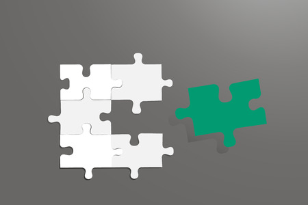 Five pieces of the puzzle with a gray gradient are embedded into each other. The sixth green piece is ready to fit in between them. All on the grey gradient background.