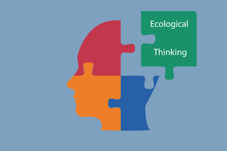 sustainable development: Sustainable Development concept. The head of man is composed of three color puzzle pieces. The fourth green puzzle with the sign Ecological Thinking is next to the head