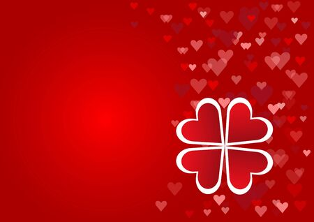 cloverleaf: Cloverleaf made from red hearts with white borders is surrounded by a number of red hearts in the right edge of the vector. All is on a red background.