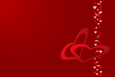 slant: Red hearts frames are slant in the right side of the vector. Column of many small hearts is in  the right  edge of the vector. Everything is on a red background with light in the upper left corner.
