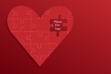 one piece: One big heart of pieces of puzzle is in the left side of the vector. Instead of one piece of the puzzle is the inscription Place fo You. Left side of the vector is ready for your text.All  is on a red background with light in the upper left corner. Illustration