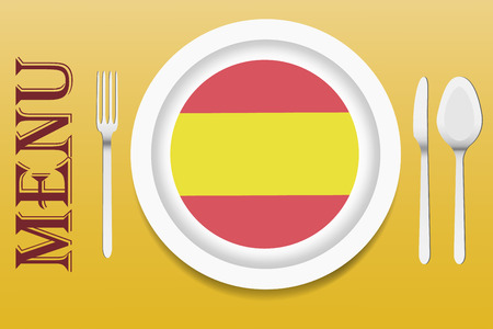 spanish food: The vector is ready to offer the Spanish menu. In the middle of the vector is a white plate with circular Spanish flag at the bottom. Other utensils are beside the plate. Everything is on a yellow gradient background. Illustration