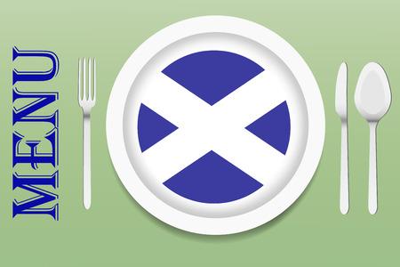 scottish flag: Il vettore � pronto ad offrire il menu scozzese. Nel mezzo del vettore � una piastra bianca con bandiera scozzese circolare nella parte inferiore. Altri utensili sono accanto al piatto. Tutto � su uno sfondo verde.