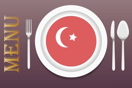 turkish flag: The vector is ready to offer the Turkish menu. In the middle of the vector is a white plate with circular Turkish flag at the bottom. Other utensils are beside the plate. Everything is on a purple background. Illustration