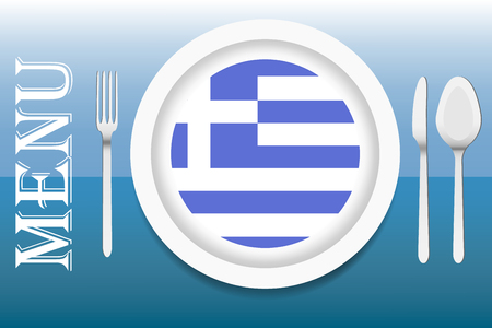 sea horizon: The vector is ready to offer the Greek menu. In the middle of the vector is a white plate with circular Greek flag at the bottom. Other utensils are beside the plate. Everything is on a blue sea horizon gradient background. Illustration