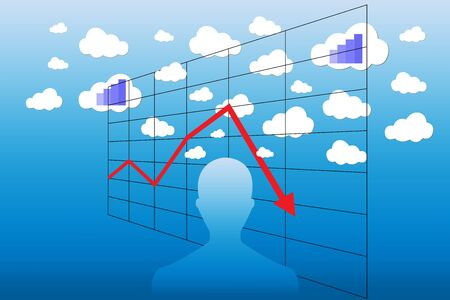 decrease: Silhouette of a man with the different sizes clouds above his head. Two clouds contains a blue graph indicating economic growth The red graph in a grid is showing the economic decrease. All is on a blue gradient background. Illustration