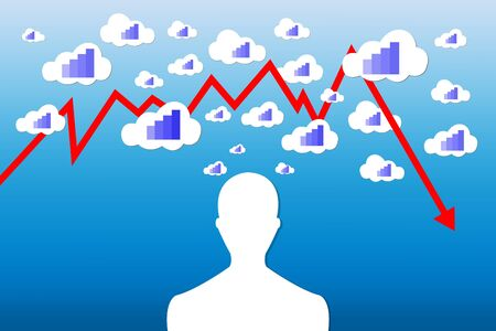 decrease: Silhouette of a man with the different sizes clouds above his head. Each cloud contains a blue graph indicating economic growth The red graph is showing the economic decrease. All is on a blue gradient background. Illustration