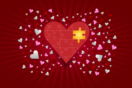 puzzle heart: The great red puzzle heart with one golden component is in the middle of the vector. Many small red and pink hearts are around the heart. All is on a red background with rays of light in the middle of the vector.